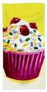 Cupcake With Cherries Beach Towel