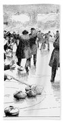 Curling, 1884 Beach Towel