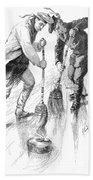 Curling Players, 1885 Beach Towel