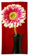 Daisy In Black Vase Beach Towel