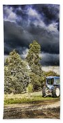 Dark Clouds Over The Farm Beach Towel
