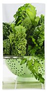 Dark Green Leafy Vegetables In Colander Beach Towel by Elena Elisseeva