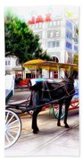 Decatur Street At Jackson Square Beach Towel by Bill Cannon