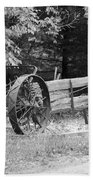 Decaying Wagon Black And White Beach Towel
