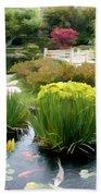 Deep Panorama Of Japanese Garden And Koi Beach Towel