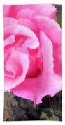 Deep Pink Watercolor Rose Blossom Beach Towel