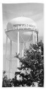 Deerfield Beach Tower In Black And White Beach Towel