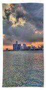 Detroit Sunset  Beach Towel