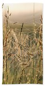 Dew And Spider Webs Beach Towel