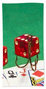Dice Red Cards Hook 1 B Beach Towel