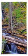 Distant Ozone Falls And Rapids In Autumn Beach Towel