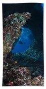 Diver At Boo Windows In Raja Ampat Beach Towel