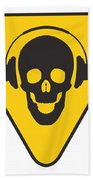 Dj Skull On Hazard Triangle Beach Towel by Pixel Chimp
