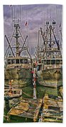 Docked Fishing Boats Hdr Beach Towel