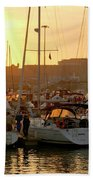 Docked Yachts Beach Towel by Carlos Caetano