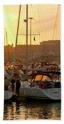 Docked Yachts Beach Towel