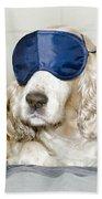 Dog With A Sleep Mask Beach Towel