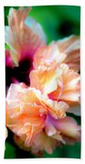 Double Peach Hibiscus Five Beach Towel