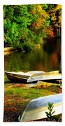 Down By The Riverside Beach Towel by Karen Wiles