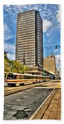 Downtown Buffalo Metro Rail  Heading To The Erie Canal Harbor Beach Towel
