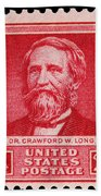 Dr Crawford W Long Postage Stamp Beach Towel