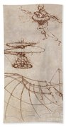 Drawings By Leonardo Divinci Beach Towel