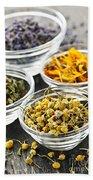 Dried Medicinal Herbs Beach Towel by Elena Elisseeva