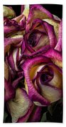 Dried Pink And White Roses Beach Towel
