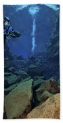 Dry Suit Divers In Gin Clear Waters Beach Towel