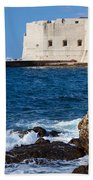Dubrovnik Fortification And Bay Beach Towel
