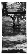 Ducks In The Shade In Black And White Beach Towel
