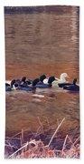 Ducks On Canvas Beach Towel