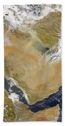 Dust And Smoke Over Iraq And The Middle Beach Towel