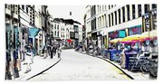 Dutch Shopping Street- Digital Art Beach Towel