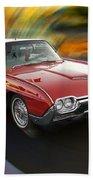 Early 60s Red Thunderbird Beach Towel