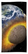 Earth Colliding With A Mars-sized Beach Towel