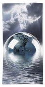 Earth Globe Reflection Beach Towel