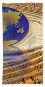 Earth In The Printed Circuit Beach Towel by Michal Boubin