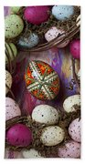 Easter Egg With Wreath Beach Towel
