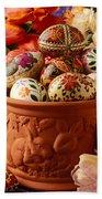 Easter Eggs In Flower Pot Beach Towel