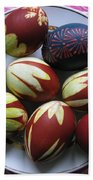 Easter Eggs. Plant Print And Wax Drawing. Beach Towel