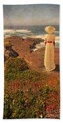 Edwardian Lady By The Sea Beach Towel