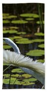 Egret Take Off Beach Towel