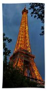 Eiffel Tower At Night Beach Towel