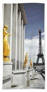 Eiffel Tower From Trocadero Beach Towel by Elena Elisseeva