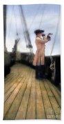 Eighteenth Century Man With Spyglass On Ship Beach Sheet