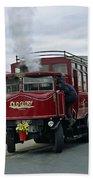 Elizabeth - Steam Bus At Whitby Beach Towel