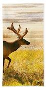 Elk Wanders On Yellow Landscape Beach Towel