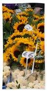 European Markets - Sunflowers And Roses Beach Towel