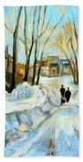 Evening Winter Walk Streets Of Montreal After The Snowstorm Beach Towel